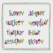 Handwritten week days calligraphy - stock illustration