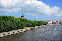 Cathedral on Kneiphof island and Fishing Village - sights of Kaliningrad (unt Stock Photos