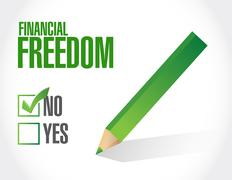 Stock Illustration of financial freedom negative sign