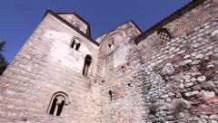 Tilt-up shoot of st. Sofia church in Ohrid, Macedonia - stock footage