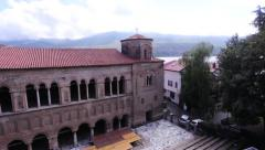 Panning shot of st. Sofia church in Ohrid, Macedonia - stock footage