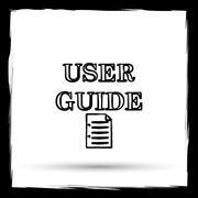 User guide icon. Internet button on white background. Outline design imitatin - stock illustration