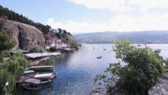 Pan shit of nature in Kaneo, Ohrid Lake - stock footage