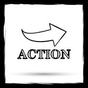 Stock Illustration of Action icon. Internet button on white background. Outline design imitating pa