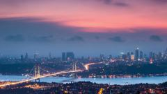 istanbul skyline cityscape time lapse from day to night sunset 4k - stock footage