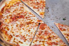 Pizza in street fast food cafe Stock Photos
