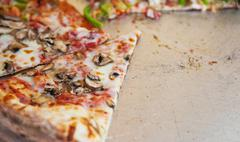 Pizza in street fast food outdoor cafe - stock photo