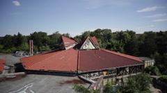 Broken orange roof of an abandoned building, Berlin, Germany Stock Footage