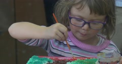 Girl in Glasses is Painting Attentively Children Are Painting Cathedral Katedra Stock Footage
