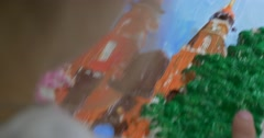 Picture Close Up Top Down Girl's Hands Blonde Girl is Painting The Picture Stock Footage