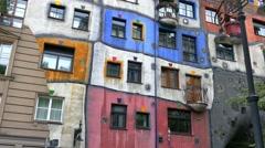 Hundertwasser House, Vienna, Austria Stock Footage