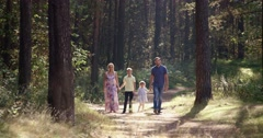 Family walking on path holding hands Stock Footage