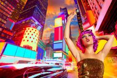 Party girl pink wig dancing in Times Square of NYC Kuvituskuvat