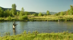 Flyfisher fishing in river Stock Footage