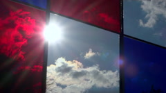 Sun throught stained-glass window on public square - Time lapse Stock Footage