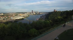 Pittsburgh West End Overlook Fly Over - stock footage