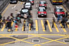 Crosswalk in Central, Hong Kong - stock photo