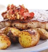 Loin Steak with Potatoes and  Sauce Stock Photos