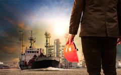 working man and oil refinery with lpg gas storage ship transport in river - stock photo