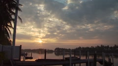 View of sunrise at marina Stock Footage