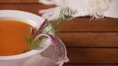 Close-up of garnish soup Stock Footage