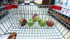 Detail of Grocery Store With Few Apples inside the Cart - stock footage