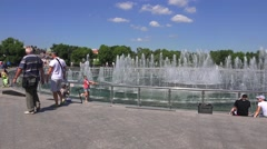 The central musical fountain (in 4k), Tsaritsyno park, Moscow, Russia. Stock Footage