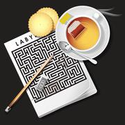 illustration of labyrinth game with hot tea and cracker - stock illustration