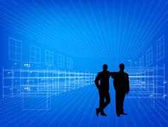 Stock Illustration of Silhouettes of business people