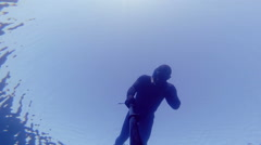 Diving at 20m Deep and Equalizing. Stock Footage
