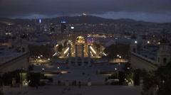 4K Amazing Barcelona panorama Spanish Square Montjuic hill twilight cityscape  Stock Footage