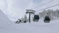 Gondola ski lift in Rosa Khutor Alpine Resort Stock Footage