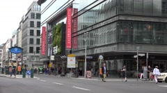 4K Famous Galeries Lafayette Berlin traffic car busy street shop sign shopping  Stock Footage