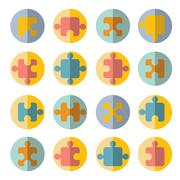 Stock Illustration of puzzle flat icon set