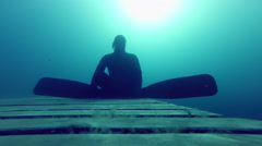 Freediver is Doing a Static at 10m Deep for more than a minute. Stock Footage
