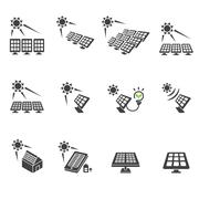 solar cell icon set - stock illustration