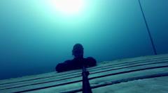 Freediver doing a Static Apnea Stock Footage