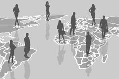 Silhouettes of people on the gray cartography. - stock illustration