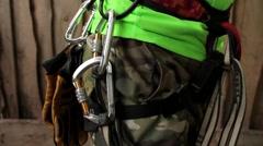 Climbing equipment on the belt Stock Footage