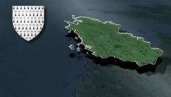 Brittany with Coat of arms animation map Stock Footage