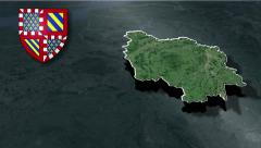 Burgundy with Coat of arms animation map - stock footage