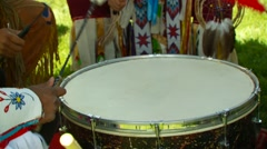 Native Americans playing drums at Pow Wow Stock Footage