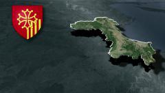 Languedoc-Roussillon with Coat of arms animation map - stock footage