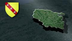 Lorraine with Coat of arms animation map Stock Footage