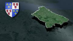 Picardy with Coat of arms animation map Stock Footage