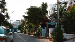 Dolly shot trendy soi nimman district Stock Footage