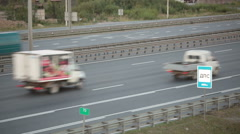 Fast moving of vehicles on the city highway. Russia Stock Footage