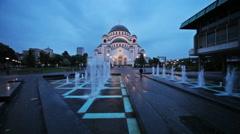Time lapse of Saint Sava temple on the rainy night Stock Footage