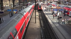 4K Panoramic view Hamburg indoor train station busy platform local regional trip Stock Footage