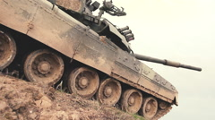 Military tank in action. Slow motion Stock Footage